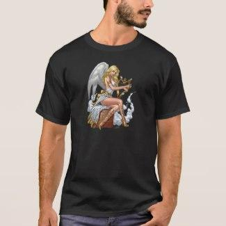 Sexy Blond Angel with Golden Heart Harp T-Shirt